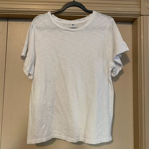 Old Navy Cotton White Flutter Sleeve T-Shirt